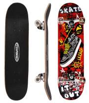 ChromeWheels 31 inch Skateboard Double Kick Skate Board Cruiser Longboard 8 Layer Maple Deck Skateboards for Kids and Beginners