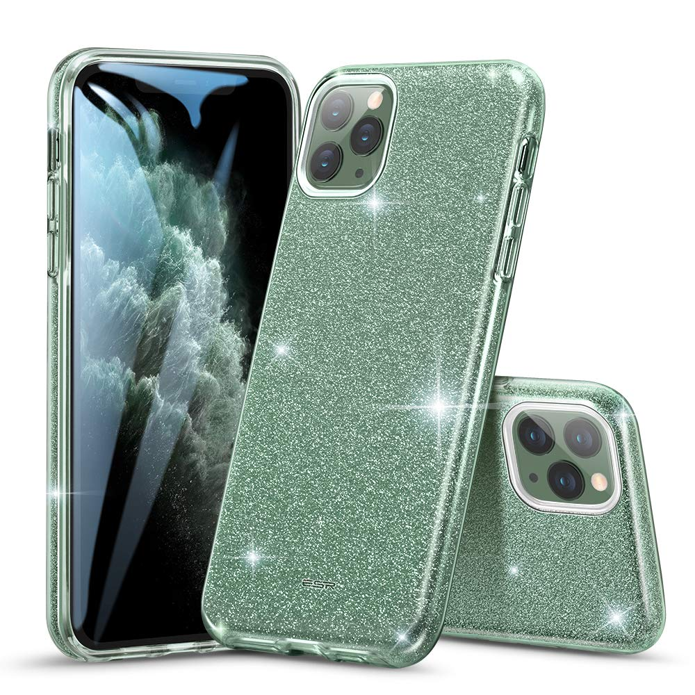 ESR Glitter Case Compatible for iPhone 11 Pro Max Case, Glitter Sparkle Bling Case [Three Layer] for Women [Supports Wireless Charging] for iPhone 11 Pro Max (2019 Release), Dark Green