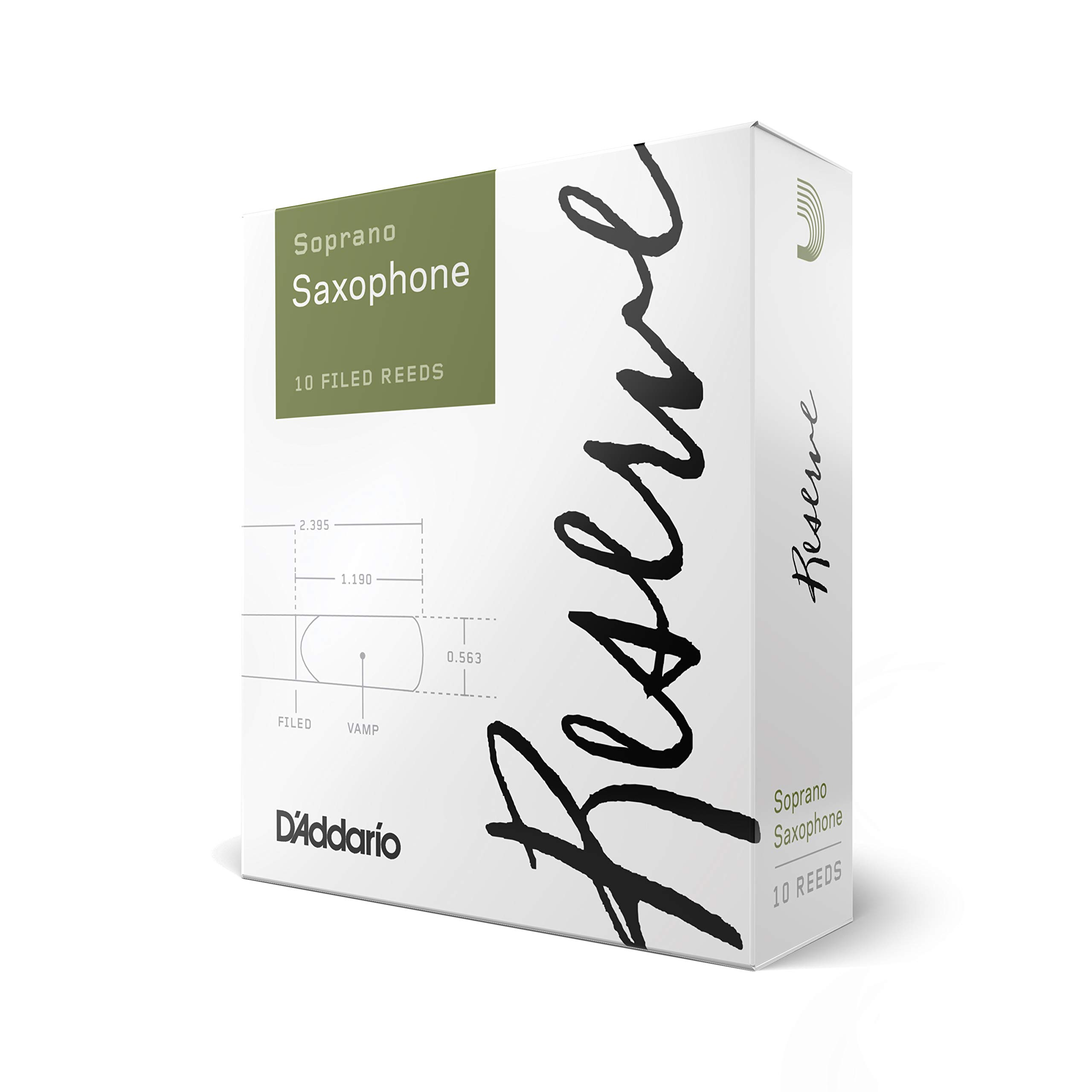 D'Addario Reserve Soprano Saxophone Reeds, Strength 3.0+,10-Pack