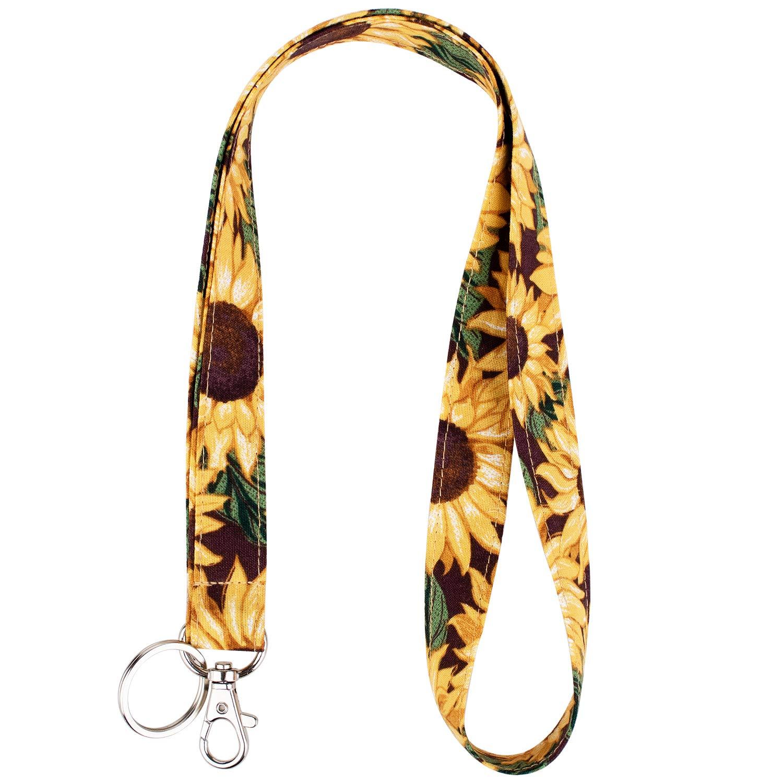 Celokiy Sunflower Keychain Lanyard - Cute Floral Lanyard for Women,Car Keys,Id Badges Cruise,Holder,Card,Wallet,Mobile Phone