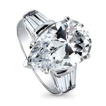 BERRICLE Rhodium Plated Sterling Silver Pear Cut Cubic Zirconia CZ Statement 3-Stone Anniversary Engagement Ring 8.85 CTW