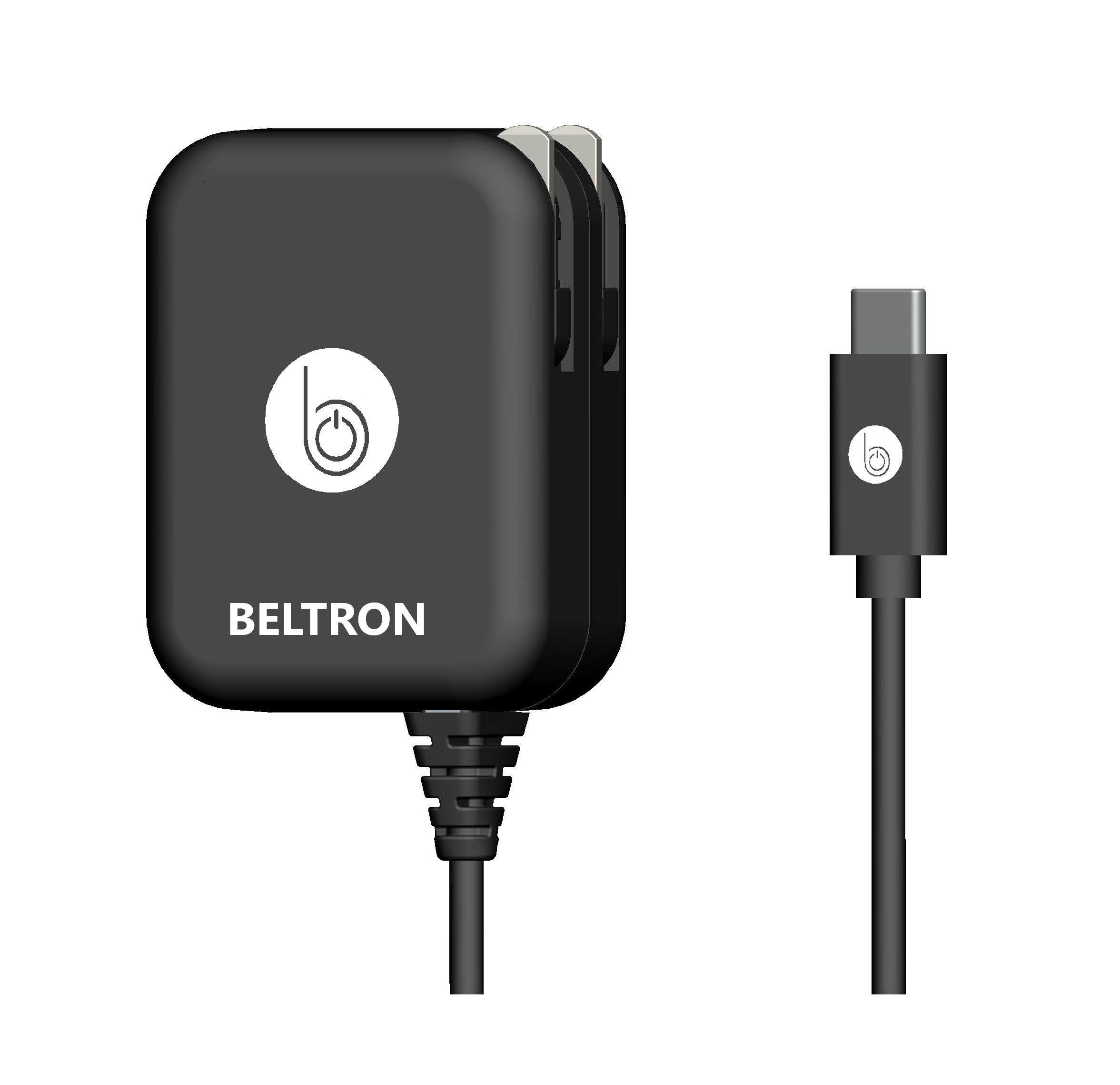 USB-C Charger, BELTRON Turbo Fast Type-C USB Wall Charger 5V / 3 AMP 30W with Built-in Cable (Compatible with: iPad Pro 3rd Generation, Galaxy S10 Series, OnePlus 7T, Pixel 4 & All Type C USB Devices)
