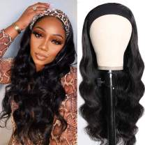 SWEETGIRL Body Wave Headband Wig Human Hair Wigs for Black Women Glueless None Lace Front Brazilian Hair Half Wig with Headband Attached 16 Inch