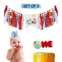 AERZETIX Baby 1st Birthday Decoration Set with One Highchair Burlap Banner, One Birthday Cake Topper, Blue 1st Crown Hat Pool Ball Bday Party Decoration - Netural (Boy or Girl)