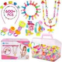 Pop Beads - 600+Pcs Arts and Crafts Girls Toys for Kids Age 3 4 5 6 7 8 9, DIY Jewelry Making Snap Beads Kit for Toddlers Creativity Christmas Birthday Gifts Including Hairband Necklace Bracelet Ring