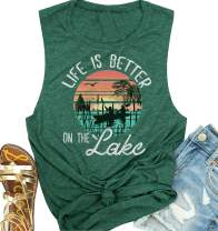 Life is Better On The Lake Typesetting Tank Women Boating Setting Sun Graphic Grasual Summer Sleeveless Tees Tops