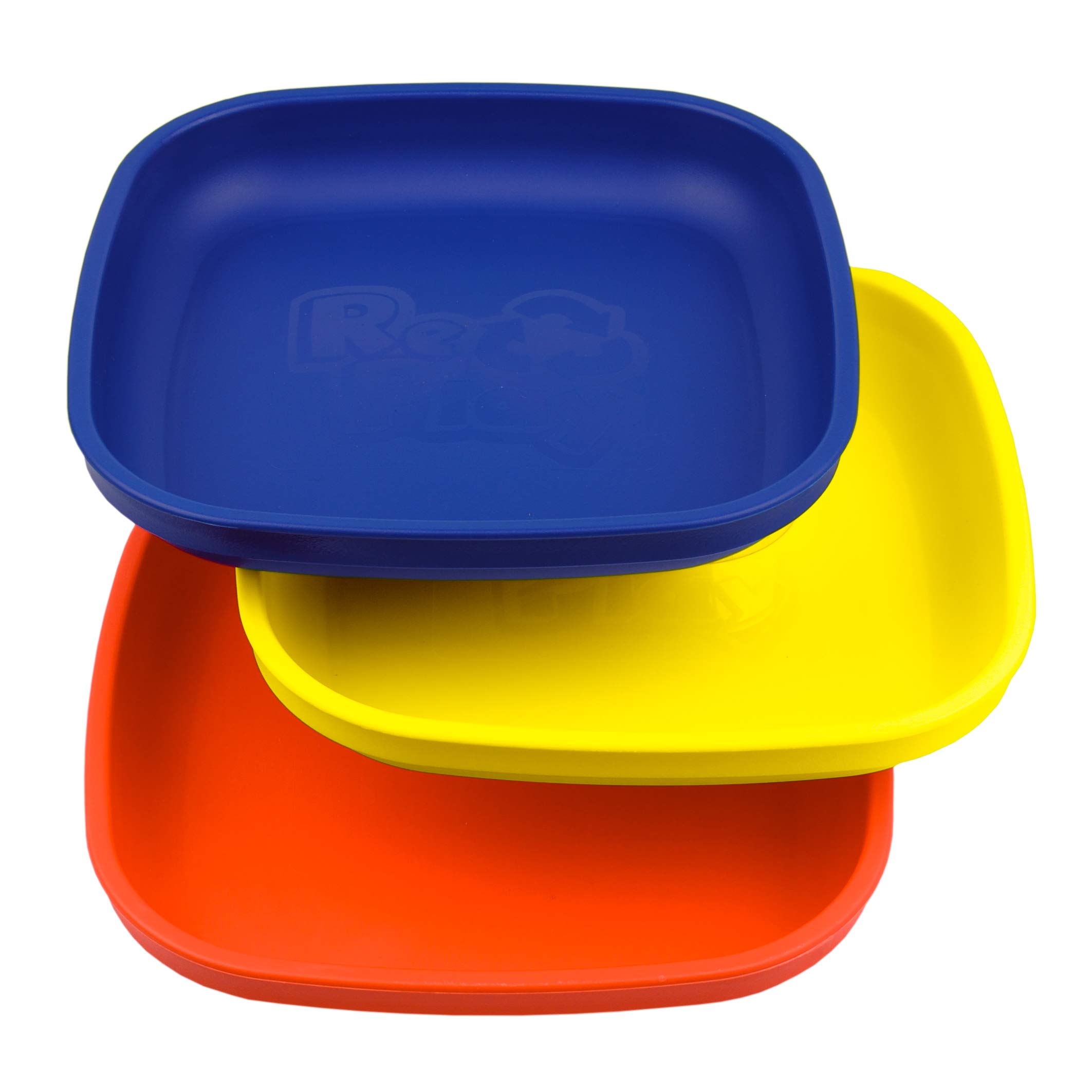 Re-Play Made in USA 3pk Plates with Deep Sides for Easy Baby, Toddler, Child Feeding - Red, Yellow, Navy (Primary)