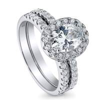 BERRICLE Rhodium Plated Sterling Silver Halo Engagement Wedding Ring Set Made with Swarovski Zirconia Oval Cut 1.87 CTW