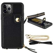 """ZVE iPhone 11 Pro (5.8"""", 2019) Case with Wallet, Case for iPhone 11 Pro, Leather Case with Card Slots Wrist Strap Adjustable Crossbody Strap Purse Protective Case for iPhone 11 Pro 5.8 inch-Black"""