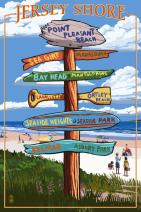 Point Pleasant Beach, New Jersey - Destinations Sign (9x12 Fine Art Print, Home Wall Decor Artwork Poster)