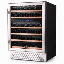 24 Inch Wine Cooler Dual Zone, 46 Bottle Built-in Wine Refrigerator with Touch Control and Temperature Memory Control, Fast Cooling Wine Chiller, Quiet Operation, Mini Wine Fridge for Red, White Wine or Champagne