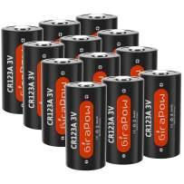 Girapow CR123A 3V 1600mAh Lithium Non-Rechargeable Battery for Flashlight, Smoke Detector, Door Sensor, 12-Count