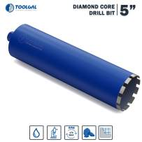 "TOOLGAL Diamond Core Drill Bit 5"" for Masonry - Wet drilling of Concrete/Reinforced concrete - Laser Welded Diamond Segmented - 11/4"" UNC for fixed or hand-held core drilling machines"