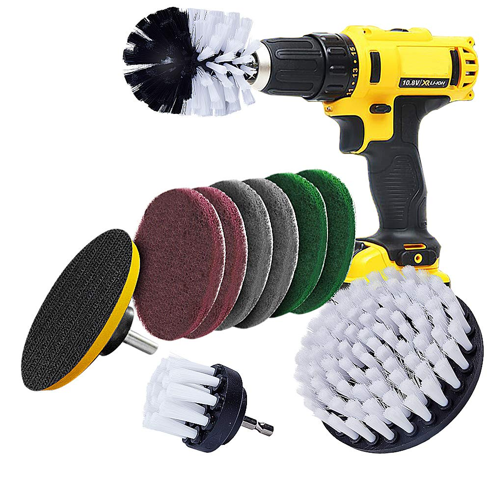 Drill Brush Power Scrubber Drill Cleaning Brush Attachment for Wheels, Carpet, Upholstery, Glass, Leather