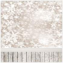Allenjoy 8x8ft Christmas Holiday Snowflake Backdrop for Photography Pictures Decoration Winter Frozen Snow Wood Background Newborn Baby Children Family Portrait Photo Studio Booth Props Supplies