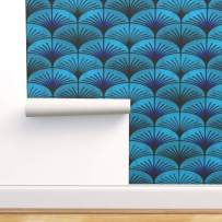 Spoonflower Pre-Pasted Removable Wallpaper, Art Deco Vintage Inspired Scallop Blue Abstract Mid Century Print, Water-Activated Wallpaper, 24in x 108in Roll