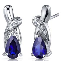 Created Blue Sapphire Earrings Sterling Silver Tear Drop CZ Accent