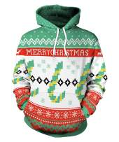 Necosthua Unisex Ugly Christmas 3D Print Pullover Hooded Sweatshirt Hoodies for Xmas Holiday Party with Pockets