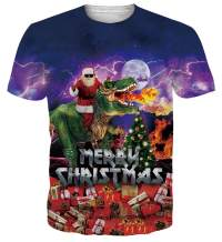 uideazone Funny Christmas Tshirt for Men Women Ugly Xmas Dinosaur Short Sleeve Tee Shirt Casual Crew Neck Pullover Top