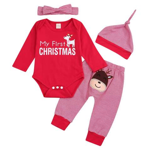 SEVEN YOUNG Baby Girls Boys Christmas Outfits, My 1st Christmas Rompers Long Sleeve Bodysuit Striped Pants with Christmas Hat