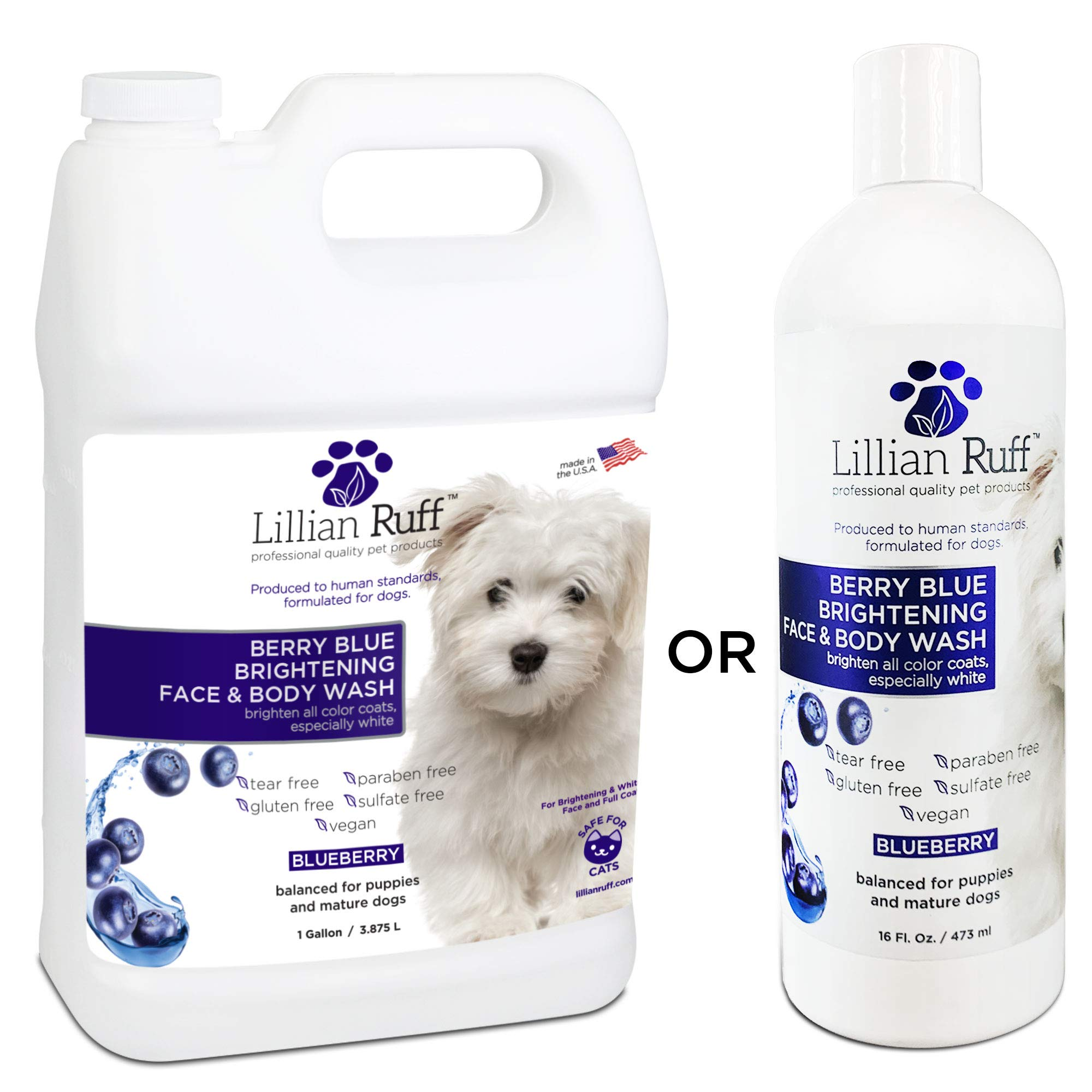 Lillian Ruff Berry Blue Brightening Face and Body Wash for Dogs and Cats - Tear Free Blueberry Shampoo - Remove Tear Stains, Hydrate Dry Itchy Skin, Add Shine & Luster to Coats - Made in USA (Gallon)