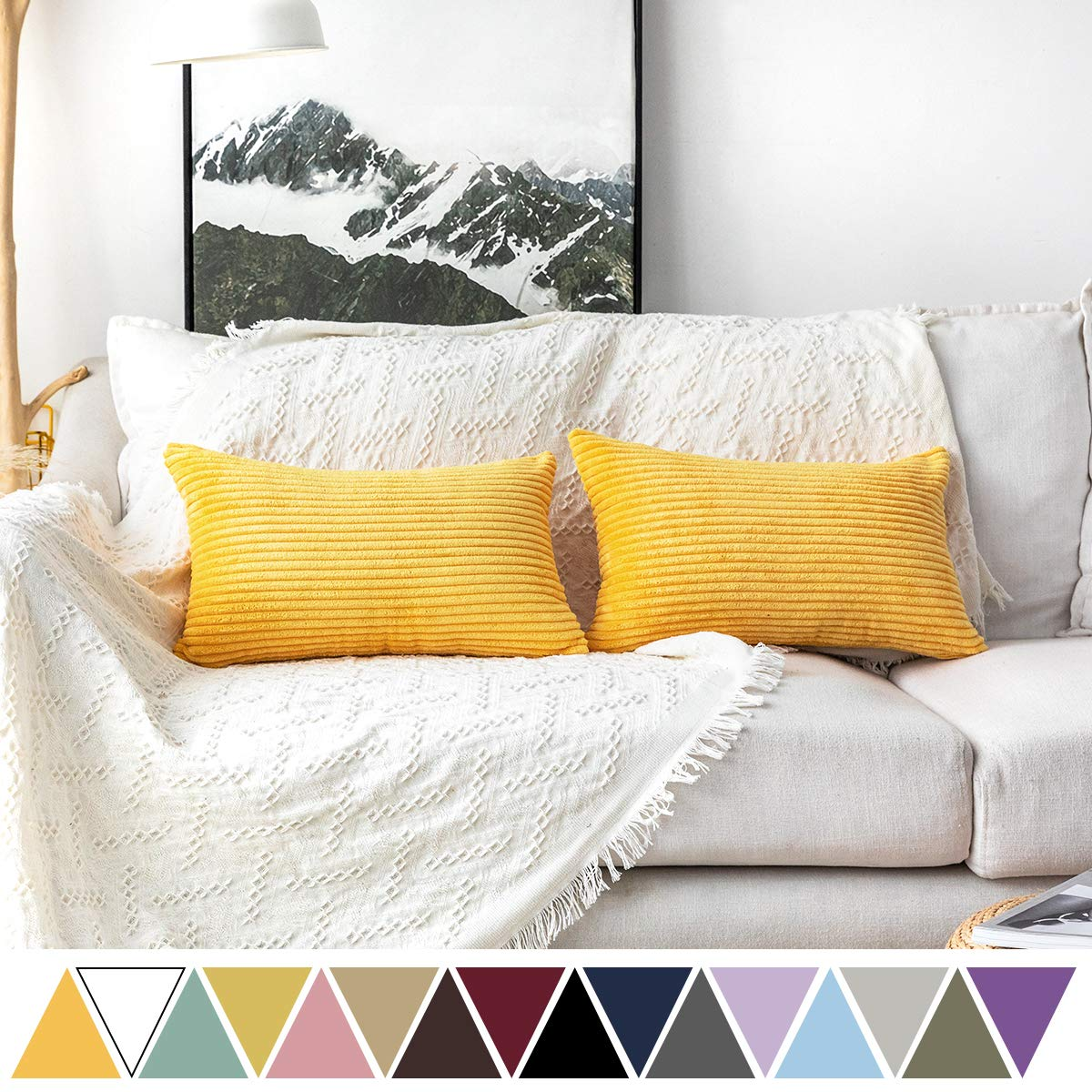 MUDILY Pack of 2 Soft Velvet Striped Corduroy Cute Decorative Oblong Throw Pillow Covers Cushion Cases Pillow Cases for Sofa Car Sunflower Yellow 12 x 20 inch 30 x 50 cm