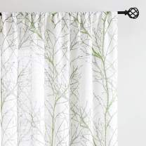 """Print White Semi-Sheer Curtains for Living Room 63"""" Fresh Green and Grey Tree Window Curtains Branch Printed Linen Textured Curtain Panels for Bedroom Draperies 50""""w 2-Pack. Rod Pocket"""