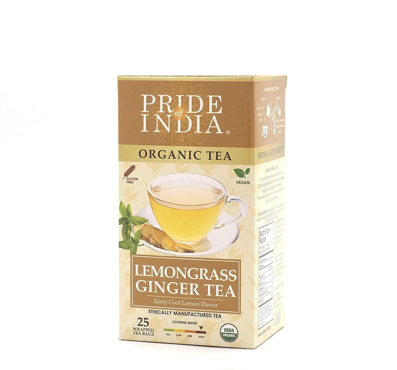 Pride Of India Organic Lemongrass Ginger Tea, 25 Tea Bags