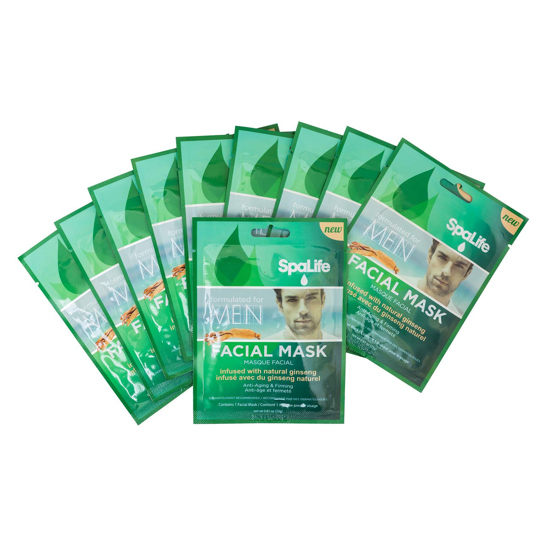 SpaLife Hydrating, Purifying, Anti-Aging, Detoxifying and Soothing Korean Facial Masks - 10 Masks - (Men's Natural Ginseng)