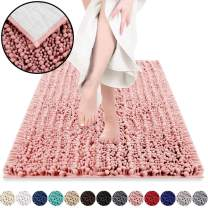 DEARTOWN Non-Slip Shaggy Bathroom Rug(24x39 Inches,Pink),Soft Microfibers Chenille Bath Mat with Water Absorbent, Machine Washable