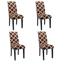 BEAUTYTREES Stretch Dining Room Chair Cover Soft Removable Washable Chair Slipcovers Protector for Wedding Banquet Hotel and Party 4 Pcs (Brown A)