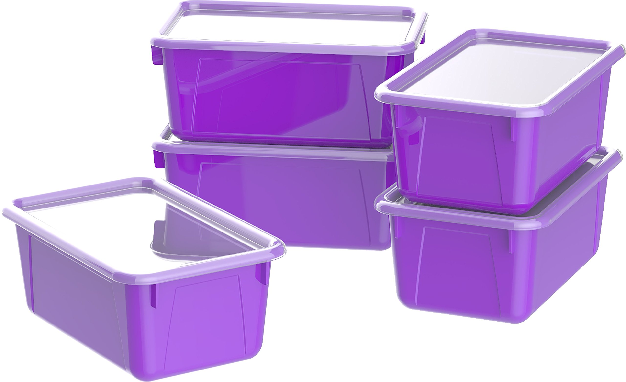 Storex Small Cubby Bins with Covers, Pack of 5, 12.2 x 7.8 x 5.1 Inches, Purple (62411U05C)