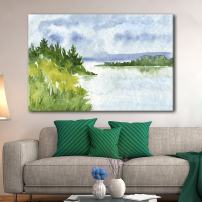 wall26 Canvas Wall Art - Watercolor Style Landscape Mountains Trees Peaceful Lake - Giclee Print Gallery Wrap Modern Home Decor Ready to Hang - 12x18 inches