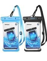 Mpow Waterproof Case, Full Transparency Waterproof Phone Pouch IPX8 Universal Cellphone Dry Bag Compatible for iPhone 11 Pro Max/Xs Max/XS/XR/X/8, Galaxy S10/S9, Google up to 6.8 Inches (Black+Blue)