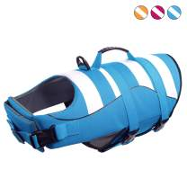 Queenmore Dog Life Jacket Adjustable Ripstop Dog Life Vests for Water Safety pet Life Vest with Rescue Handle Safety Vest for Swimming Pool Beach Boating