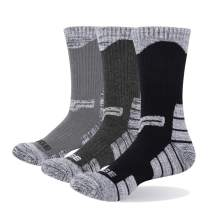 YUEDGE Men's 3 Pairs/Pack Cotton Moisture Wicking Athletic Workout Training Cushion Crew Socks
