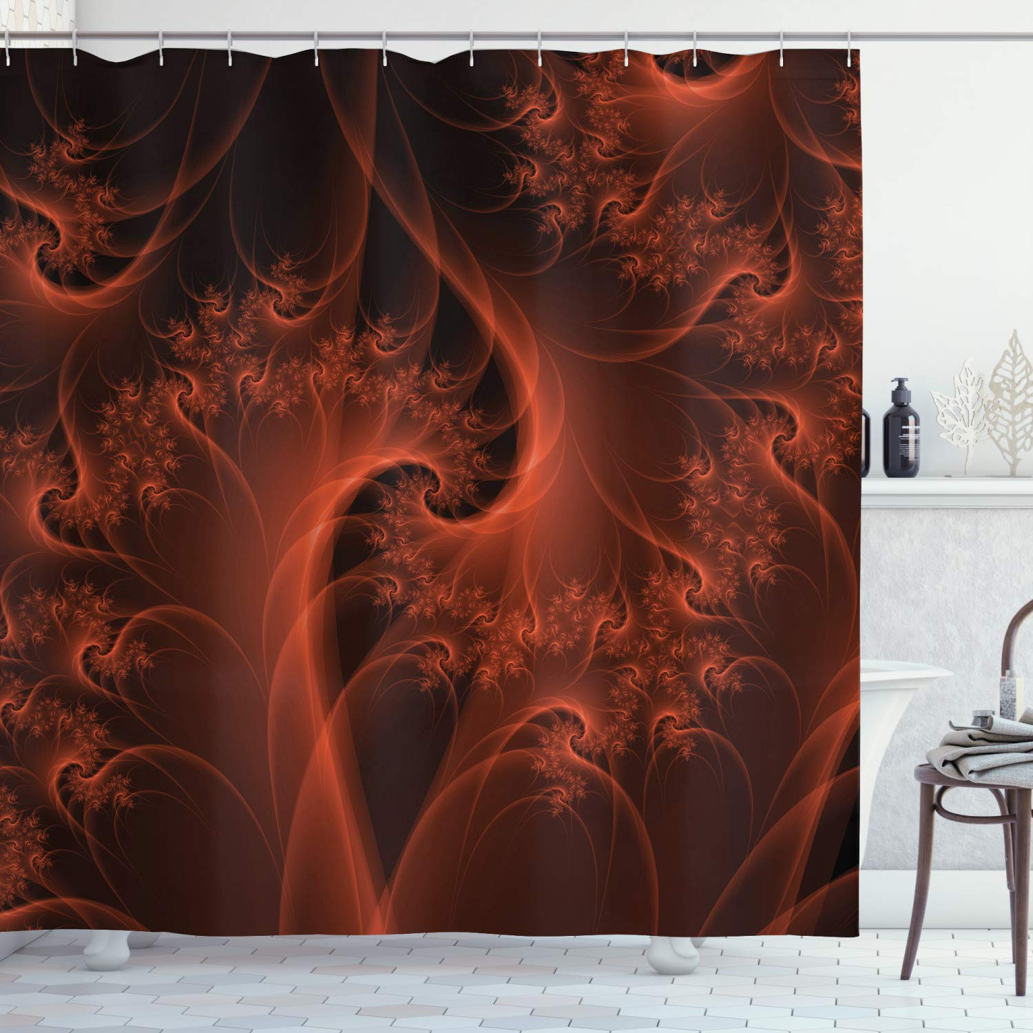 Ambesonne Burnt Orange Shower Curtain Digital Fractal Image With Swirling Turning Moving Floral Lines Modern Graphic Cloth Fabric Bathroom Decor Set With Hooks 84 Long Extra Burnt Orange