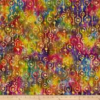 Textile Creations Indian Batik Gypsy Circle Stripe Multi Fabric by The Yard, Bright Multicolor