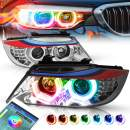 M-Style Eyelid RGB Color Change 3D LED U-Halo Projector Chrome Headlight Replacement for BMW E90 3-Series 4-Door 09-12
