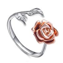 Meow Star Rose Ring Leaf Flower Ring Adjustable Cuff Ring for Women