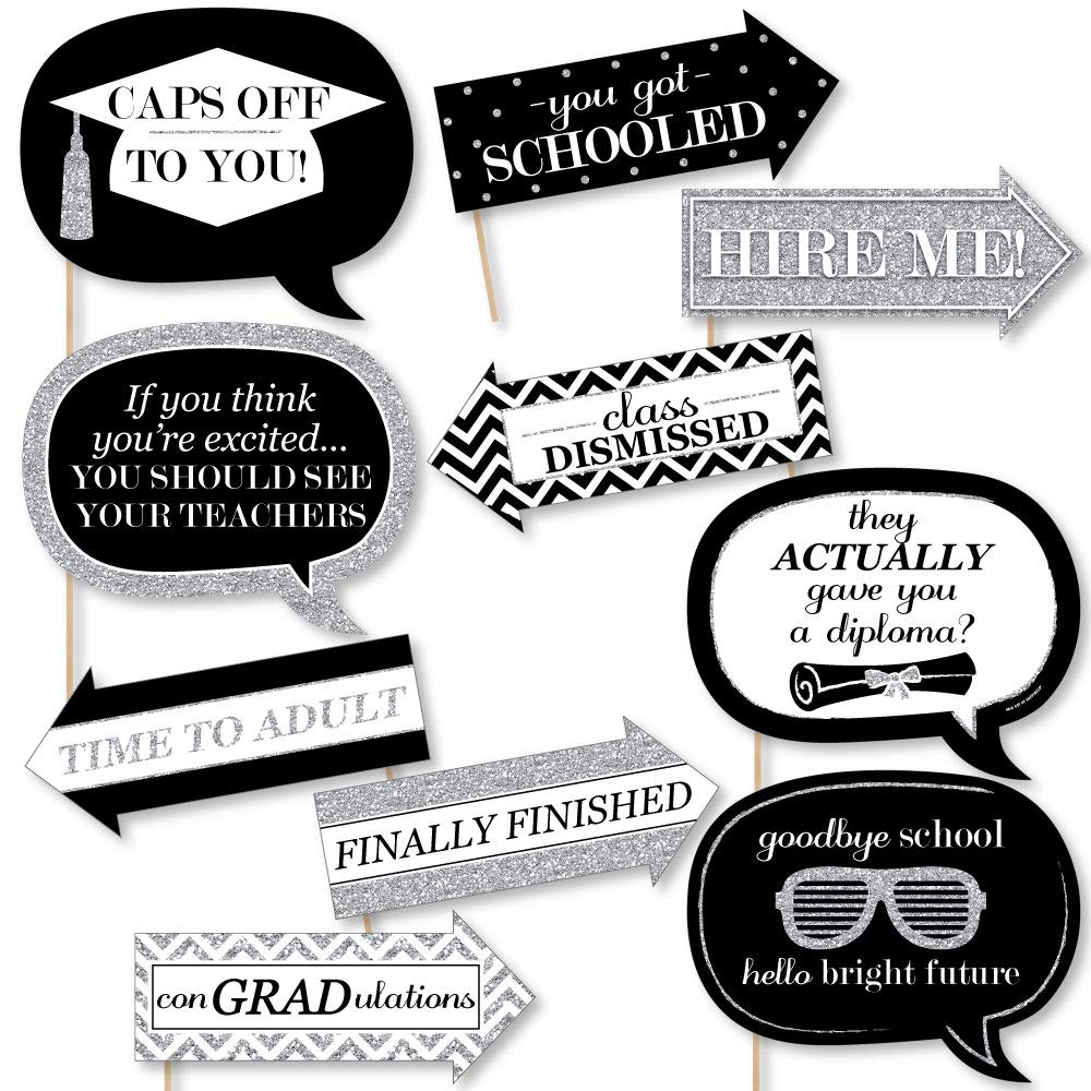 Big Dot of Happiness Funny Silver Tassel Worth The Hassle - Graduation Party Photo Booth Props Kit - 10 Piece