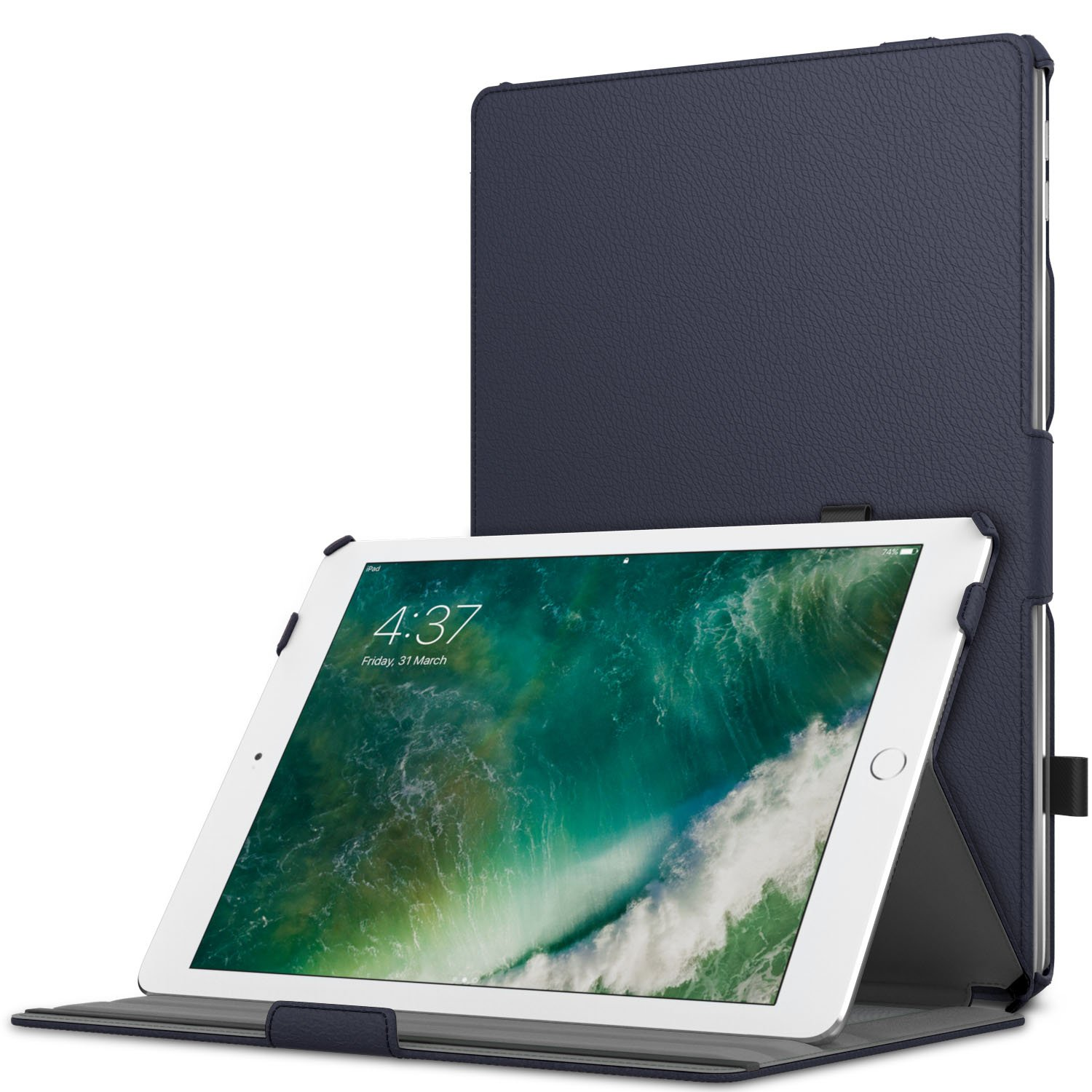 MoKo Case Fit 2018/2017 iPad 9.7 6th/5th Generation - Slim-Fit Multi-Angle Folio Cover Case with Auto Wake/Sleep Compatible with iPad 9.7 Inch 2018/2017, Indigo