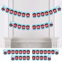 Big Dot of Happiness Railroad Party Crossing - Steam Train Birthday Party or Baby Shower Bunting Banner - Party Decorations - Chugga Chugga Choo Choo