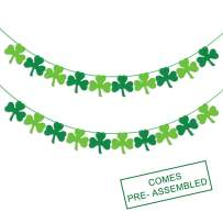 Felt Shamrock Clover Garland Banner - NO DIY - St. Patrick 's Day Banner Decor - St. Patrick 's Day Garland Decorations - Irish Party Supplies - Green and Light Green Color
