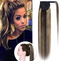 SEGO Ponytail Extension Human Hair Pony Tails Hair Extensions Wrap Around Ponytail Hair Extensions 100% Real Remy Hair With Magic Paste Long Straight #4P27 Medium Brown&Dark Blonde 14 Inch 80g