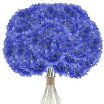 Elfii 10 Pack Silk Hydrangea Heads Artificial Flowers Heads with Stems for Home Wedding Party Decor Bride Holding Flowers Bouquet Baby Shower Decoration Centerpiece DIY Wreath Craft - Dark Blue