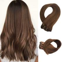 Clip in Human Hair Extensions 70g 7pcs Silky Straight Remy Human Hair Extension 15 Inch Chestnut Brown