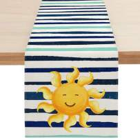 Sambosk Spring Summer Sunshine Table Runner, Watercolor Stripe Table Runners for Kitchen Dining Coffee or Indoor and Outdoor Home Parties Decor 13 x 72 Inches