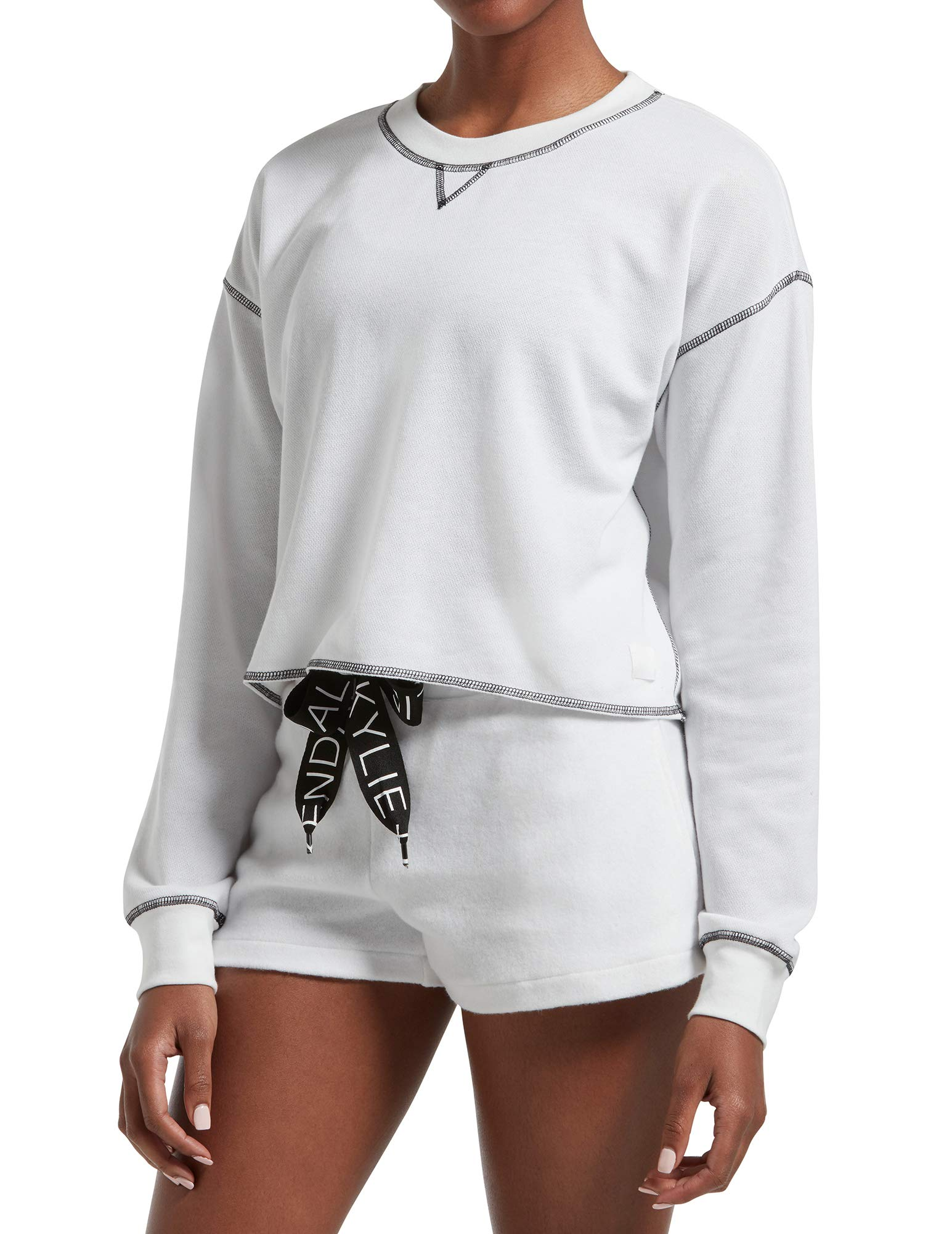 Kendall + Kylie Women's Oversized Long Sleeve Cropped Tee