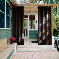 NICETOWN Outdoor Waterproof Patio Curtain W52 x L84, Silver Rustproof Ring Blackout Thermal Insulated Vertical Drape Keep Sun & Rain Our for Porch/Cabana, 1 Piece, Toffee Brown